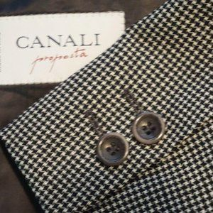 Canali White Black Houndstooth DBL Breasted coat